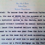 Typed note of 1947 recording purchase of the sprinkler system.