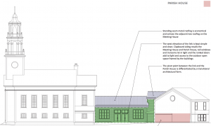 West elevation view showing the Meeting House, Parish House and new connecting link