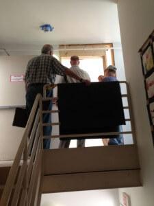 View of new stairwell emergency exit door