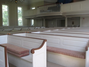 Front pew has been shortened to make room for a wheelchair.