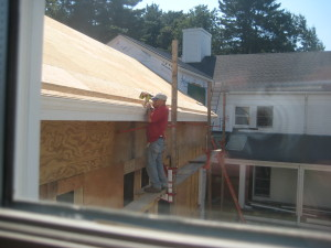 Clever gutters are hidden behind fascia trim.