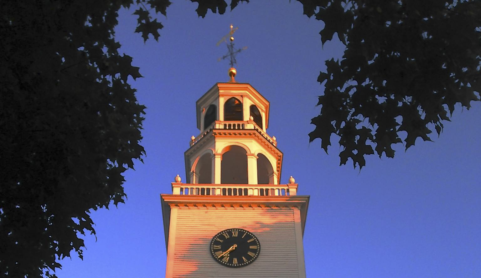 First Parish in Wayland - church steeple in afternoon sun