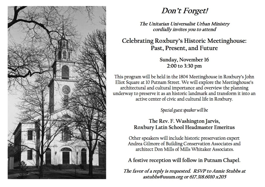Celebrating Roxbury's Meetinghouse--Past Present and Future--Reminder